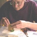 Helen preparing her books on the spot